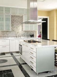 White Kitchen: Tiled Floor, glass uppers