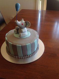 Baby shower cake for boy... Fondant elephant
