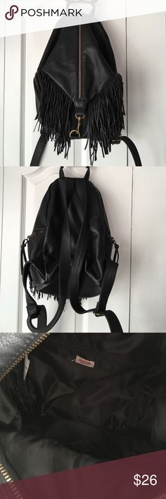 Mossimo Black Fringe Leather Backpack Stylish Black Leather Backpack- clean inside and out!!Like New!!  Only flaw is pictured- missing zipper pull Mossimo Supply Co. Bags Backpacks