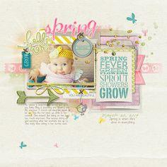 Adorable spring fever - growing baby - digital scrapbook page by Amy at DesignerDigitals.com