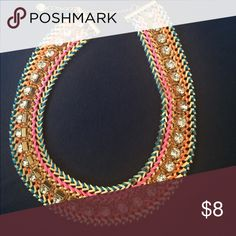 Gold multi color chain necklace with white stones Gold multi color chain necklace with white stones Jewelry Necklaces