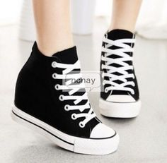 d5599c3f407 Ladies Hidden Wedge Canvas High Top Lace Up Platform Sneaker Trainers Shoes  Hot