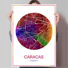 World Famous City Map CARACAS Venezuela Print Poster Print on Paper or Canvas Wall Sticker Bar Pub Cafe Living Room Home Decor