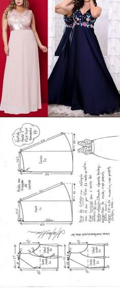 Vestido festa Plus Size evasê com decote V. Girl Dress Patterns, Dress Making Patterns, Blouse Patterns, Saree Blouse Designs, Clothing Patterns, Skirt Patterns, Sewing Patterns, Coat Patterns, Diy Dress
