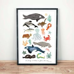 Sea Change: Ocean Animals Art Print by RocketBoogieCo on Etsy Kunst Poster, Animal Posters, Art Posters, Safari Animals, Jungle Safari, Canvas Prints, Art Prints, Folded Cards, Sea Creatures