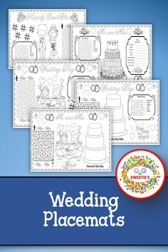 Your guests' children will love sitting at the kid's table with these wedding-themed placemats. Use them at the rehearsal supper or at the wedding. There are 3 different pages for older children and 2 different pages for younger children.