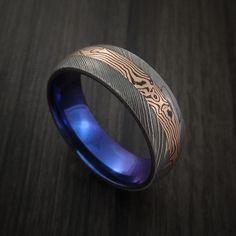 Damascus and 14k ROSE GOLD Mokume Gane Ring with Anodized Titanium Sleeve Custom Made