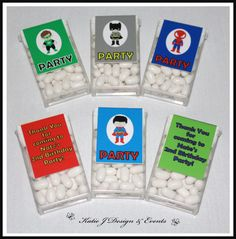 Tic Tac Labels #Super #Hero #Heroes #Superman #Batman #Spiderman #Hulk #Boy #Bunting #Party #Decorations #Ideas #Banners #Cupcakes #WallDisplay #PartyBags #Invites #KatieJDesignAndEvents #Personalised #Creative