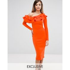 Club L One Shoulder Frill Detail Long Sleeve Midi Dress - Orange Latest Fashion Clothes, Fashion Dresses, Fashion Online, Women's Dresses, Orange Bodycon Dress, Long Sleeve Midi Dress, Dress Long, Barbie Dress, Online Shopping Clothes