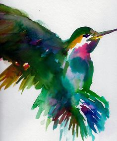 Print of Original Watercolor Painting, Titled: Hummingbird by Jessica Buhman 9 x 12 Bird Painting Purple Blue Yellow Green. $10.00, via Etsy.