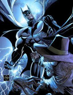 Batman vs Scarecrow by Ethan Van Sciver. Comic Book Characters, Comic Book Heroes, Comic Character, Comic Books Art, Comic Art, Book Art, I Am Batman, Batman Dark, Batman The Dark Knight