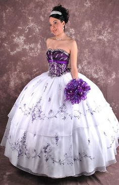 0dd9d49043a White and Teal Strapless Dress for Quinceanera in Floor-length with  Appliques