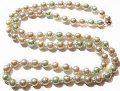 Pastel Pearl Bead Necklace, Costume Jewelry