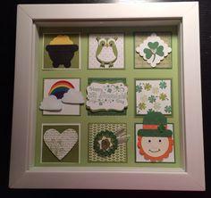 Patrick's Day Sampler by Vicki Burnette St Patrick's Day Crafts, Holiday Crafts, Decor Crafts, 3d Paper Projects, Paper Crafts, St Patricks Day Cards, Saint Patricks, Collage Frames, Collage Ideas