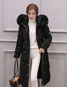 Casual/hétköznapi Egyszerű Kabát-Női Egyszínű Hosszú Sportos kabátok Egyéb Fehér kacsapehely Kapucni Hosszú ujjRózsaszín / Fekete / – EUR € 75.45