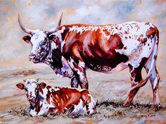 Terry Kobus - Nguni Mother and Calf