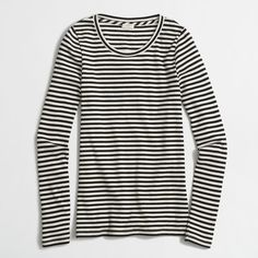 J.Crew Factory striped ribbed long-sleeve T-shirt ($23) ❤ liked on Polyvore featuring tops, t-shirts, stripe long sleeve tee, long sleeve t shirts, long sleeve tops, ribbed t shirt and striped t shirt
