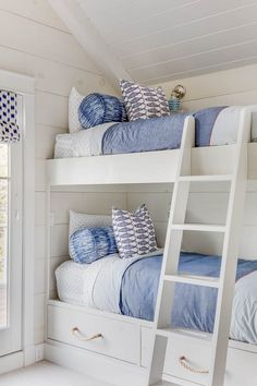 Charming cottage bunk room is fitted with white bunk beds finished with drawers donning rope pulls and a white ladder. White Bunk Beds, Bunk Beds Built In, Bunk Beds With Stairs, Kids Bunk Beds, Boys Bunk Bed Room Ideas, Bunk Bed Ideas For Small Rooms, Bunk Bed Plans, Coastal Bedrooms, Coastal Living Rooms