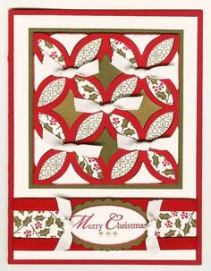 Merry Christmas Quilt Card by parkerquilter - Cards and Paper Crafts at… Stamped Christmas Cards, Christmas Cards To Make, Xmas Cards, Holiday Cards, Christmas Paper, Merry Christmas, Lattice Quilt, Scrapbook Cards, Scrapbooking