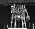 Lou Ferrigno, Joe Weider and Arnold Schwarzenegger--1974 Mr. Olympia