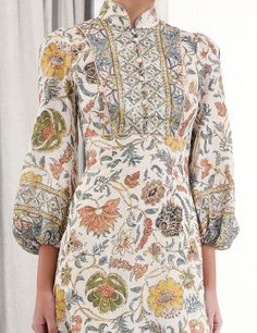 The Edie Border High Neck Dress in Cream Paisley from our Resort Swim 2020 Collection. A printed midi dress with fitted bodice, soft A-line skirt and signature blouson sleeves. linen, midi dress with a-line skirt, border print and contrast rope piping, ga Sweet 16 Dresses, Casual Dresses For Women, Clothes For Women, Quirky Fashion, Vintage Fashion, Boho Chic, Pakistani Fashion Casual, Vacation Dresses, Couture