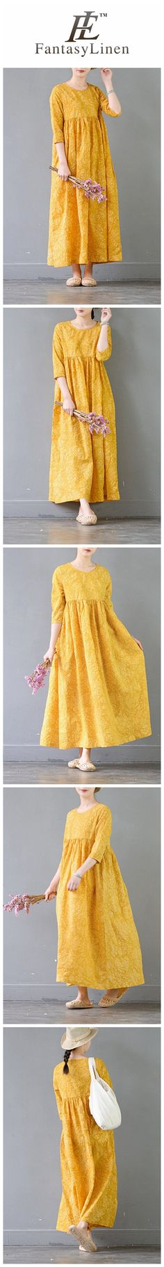 Summer Flower Yellow Casual Cotton Dresses 3/4 Sleeve Women Clothes  Q3104Yellow
