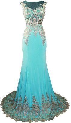 Meier Women's Embroidery Rhinestone Long Formal Evening Prom Dresses Aqua size 6