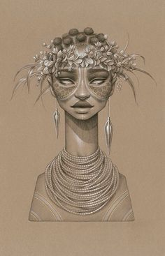 Sundust: Striking Charcoal & Conté Portraits of Sun Goddesses by Sara Golish portraits illustration drawing Africa Art And Illustration, Portrait Illustration, Black Women Art, Black Art, Black Girls, Illustrator, Pencil Portrait, Gold Ink, African Art