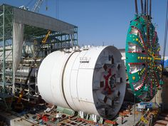 'Bertha', the world's largest tunnel boring machine. She clears a subterranean tunnel that measures 57.5 feet.