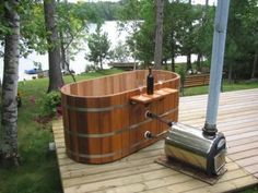 Wood Heated Hot Tub | Wood Fired Thermosyphon Heater - Portable Hot Tubs & Spas - Pool and ...