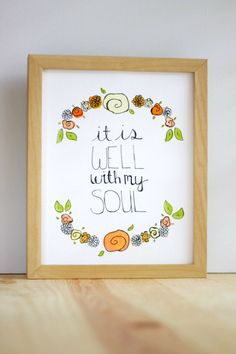 It Is Well With My Soul -8x10 Print on Canvas. $18.00, via Etsy.