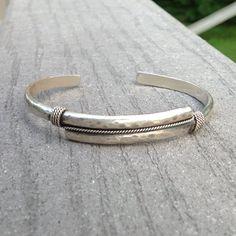 Men's Cuff Sterling Silver Hammered Bracelet by stoneandsterling