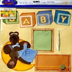 Wilton Pre-made 12 x 12 Just Jinger Baby Boy Scrapbook Pages
