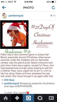plus, percy wouldn't want to spend seven seconds under the mistletoe with an aphrodite camper