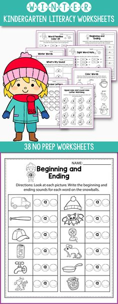 Practice beginning and ending sounds of CVC words (short a, short e, short i, short o, short u) with these printable worksheets created with kindergarten and first grade students in mind.