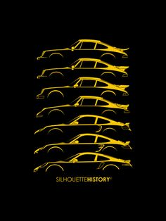 """silhouettehistory: """" Turbo Sports Car SilhouetteHistory - 911 Follower Edition Silhouettes of Porsche 911 Turbo generations: two versions of 930 , 964, 993, early 996, 997 and 991 """" Throwback... Porsche 930, Porsche 911 Classic, Porsche 2017, Porsche Cars, Car Silhouette, Volkswagen, Automobile, Moto Car, Automotive Photography"""