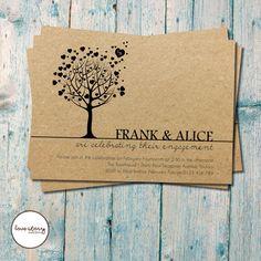 Heart Tree Engagement // Kraft Recycled Card Invitation // DIY Printable