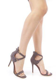 Grey Strappy Open Toe Faux Suede High Heels
