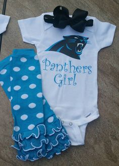 Girls Panthers Shirt / Girl's Carolina Panthers Onesie Gift Set | Panthers Gift…