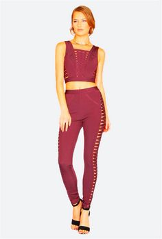 e3b76f987ad8 wholesale new Jumpsuits Wine red and pink purple fashion Hollow Out Two  Piece Set bandage pants