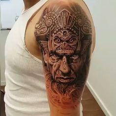 Inca Mayan Aztec Warrior Tattoo by @arlotattoos #arlodichristina #aztecwarrior #tattoos #tattooed #inked