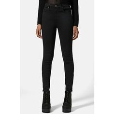 Topshop Moto 'Jamie' Ankle Zip Skinny Jeans ($80) ❤ liked on Polyvore featuring jeans, pants, bottoms, high rise jeans, denim skinny jeans, high-waisted skinny jeans, skinny leg jeans and super skinny jeans