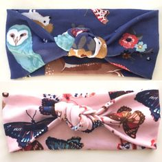 Woodland Animals Knotted Turban // Butterfly // Fall // Jersey Knit // Baby Girl Headband // Deer // Owl / Blue / Pink /Newborn / Infant :KN by jumpingjackjack on Etsy https://www.etsy.com/listing/244025440/woodland-animals-knotted-turban
