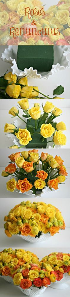 Bright Centerpiece DIY with Ranunculus and Roses.  Pinned by Afloral.com from http://theglamoroushousewife.com/2013/03/a-spring-centerpiece/ ~Afloral.com has high-quality faux flowers and containers for your DIY centerpiece ideas!