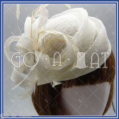 Ladies Sinamay Church Bridal Feather Swirl Pillbox Cocktail Hat MULTI COLORS