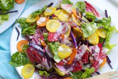 Crunchy rainbow salad with healthified ceasar dressing
