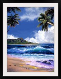 Diamond Head overlooks the Pacific Ocean in Waikiki on Oahu, Hawaii. Blue waves roll towards a perfect sandy beach in the Diamond Head Blue Sky wall mural. Tropical Beach Houses, Tropical Beaches, Tropical Art, Beach Landscape, Landscape Art, Landscape Paintings, Romantic Beach Photos, Blue Sky Wallpaper, Murals Your Way