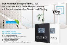 Kapazitiver Raumcontroller mit Display, individuell bedruckt: ---> http://zennio-deutschland.de/…/kapacitiv…/square-tmd-display