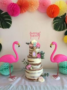 Flamingo Party, Flamingo Baby Shower, Flamingo Cake, Flamingo Birthday, Luau Birthday, Summer Birthday, Birthday Parties, Aloha Party, Luau Party