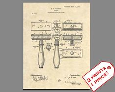 Vintage Barber Clippers Antique 155 Official Oster Razor US Patent Art Print